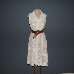 BANANA REPUBLIC White Eyelet Lace Shirt Dress 12